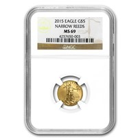2015 1/10 oz American Gold Eagle MS-69 NGC (Narrow Reeds)