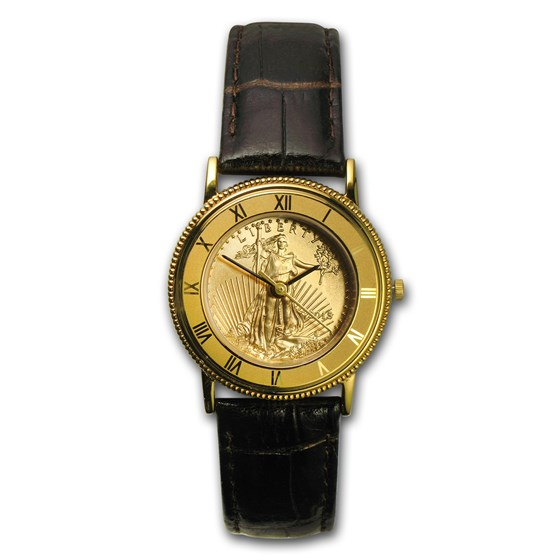 2015 1/4 oz Gold American Eagle Leather Band Watch