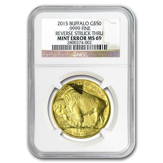 2015 1 oz Gold Buffalo MS-69 NGC (Mint Error, Rev Struck Thru)