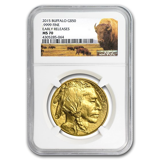 2015 1 oz Gold Buffalo MS-70 NGC (Early Releases, Buffalo Label)