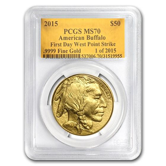 2015 1 oz Gold Buffalo MS-70 PCGS (FS, Gold Foil)