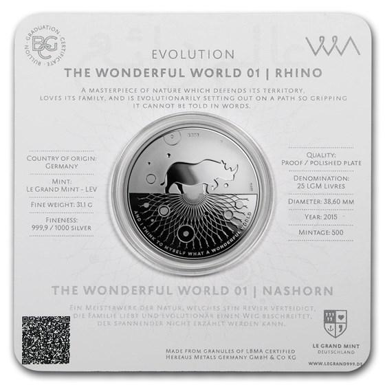 2015 1 oz Silver Proof Evolution I Wonderful World (Rhino)