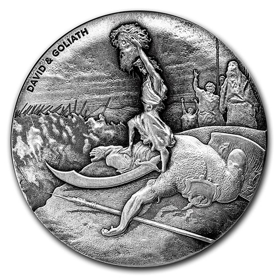 2015 2 oz Silver Coin - Biblical Series (David & Goliath)