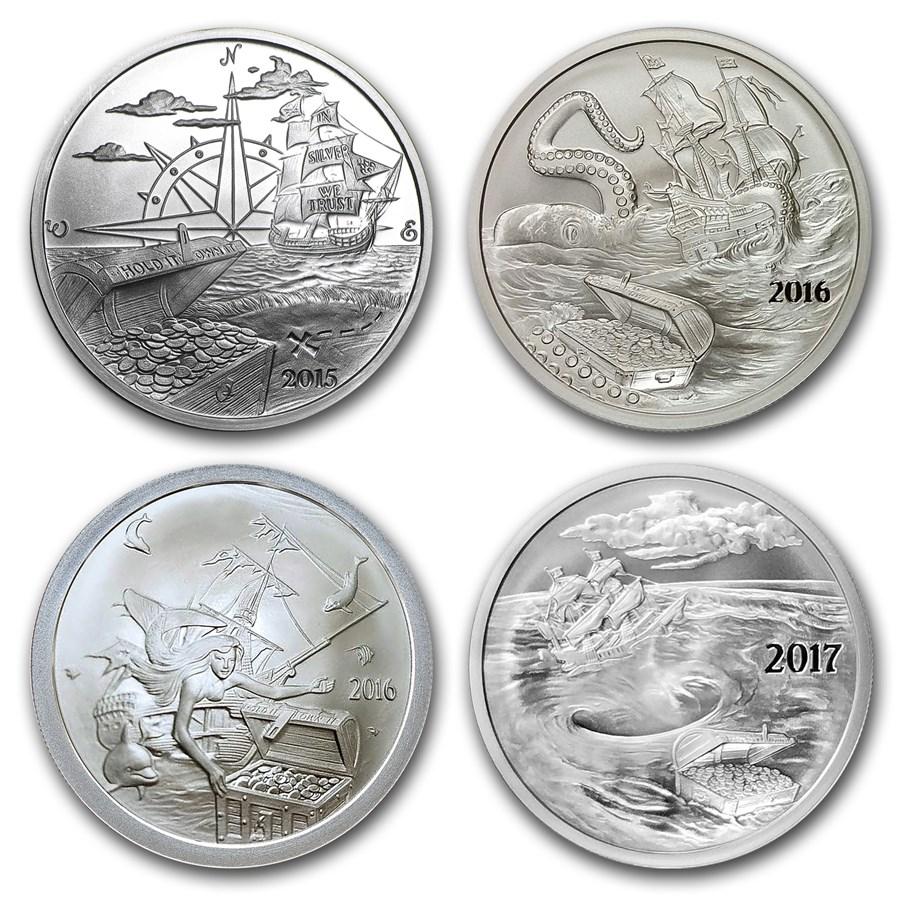 2015-2017 1 oz Silver 4 coin Silverbug Island Set (BU)