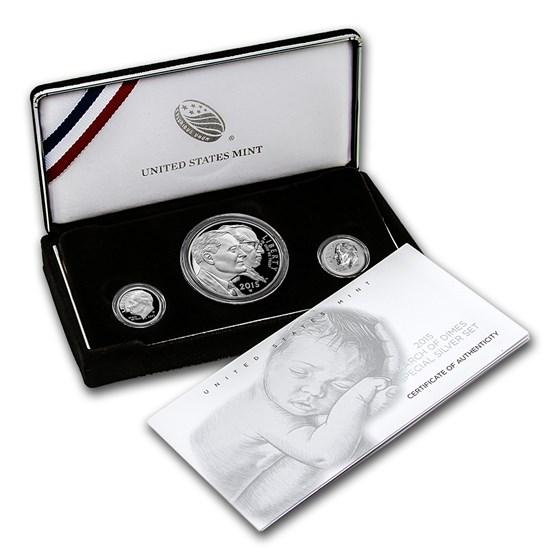 2015 3-Coin U.S. March of Dimes Silver Commem Proof Set (Box/COA)