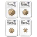 2015 4-Coin American Gold Eagle Set MS-70 NGC (Buchanan)