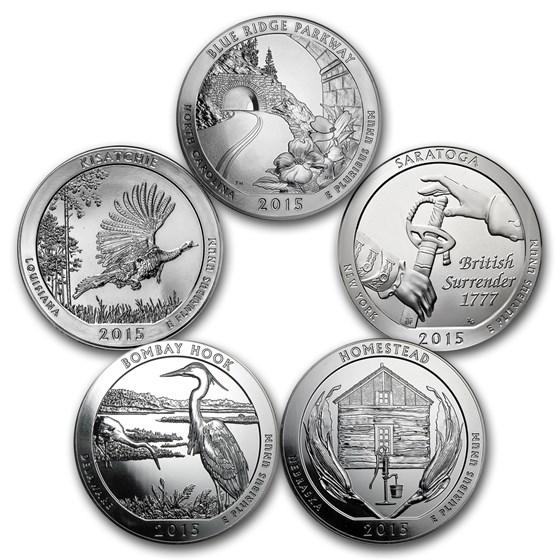2015 5-Coin 5 oz Silver ATB Set (America the Beautiful)