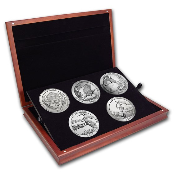 2015 5 oz Silver ATB 5-Coin Set (Elegant Display Box)