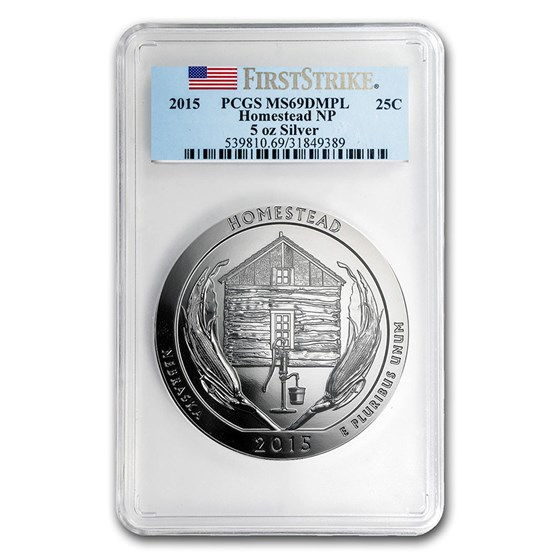 2015 5 oz Silver ATB Homestead MS-69 DMPL PCGS (FirstStrike®)