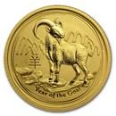 2015 Australia 1/10 oz Gold Lunar Goat BU