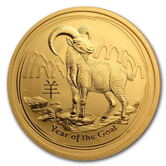 2015 Australia 1/2 oz Gold Lunar Goat BU