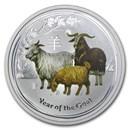 2015 Australia 1/2 oz Silver Goat BU (Series II, Colorized)