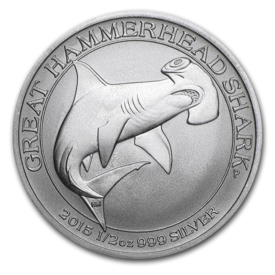 2015 Australia 1/2 oz Silver Great Hammerhead Shark BU