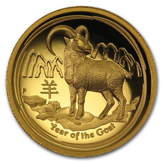 2015 Australia 1 oz Gold Lunar Goat Prf (UHR, SII, Box & COA)