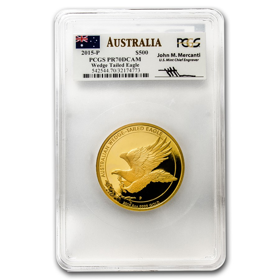 2015 Australia 5 oz Gold Wedge-Tailed Eagle PR-70 PCGS