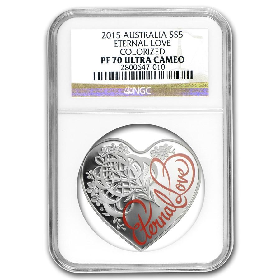 2015 Australia Silver $5 Eternal Love Heart Coin PF-70 NGC
