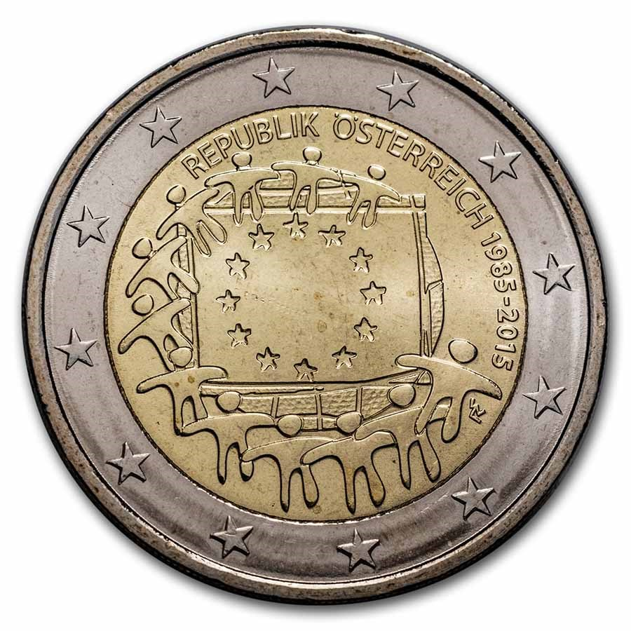 2015 Austria 2 Euro EU Flag BU