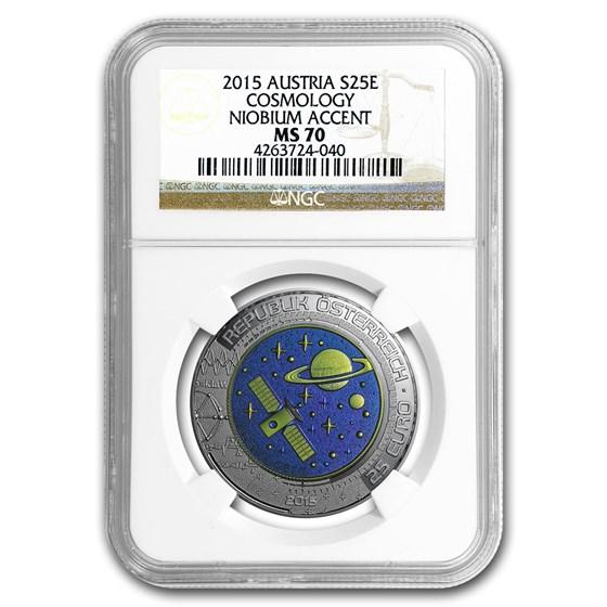 2015 Austria Silver/Niobium Cosmology €25 MS-70 NGC