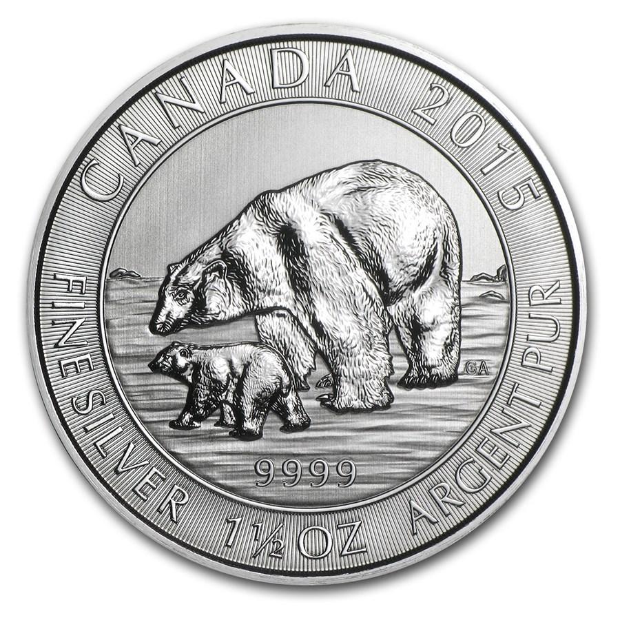 2015 Canada 1.5 oz Silver $8 Polar Bear & Cub BU