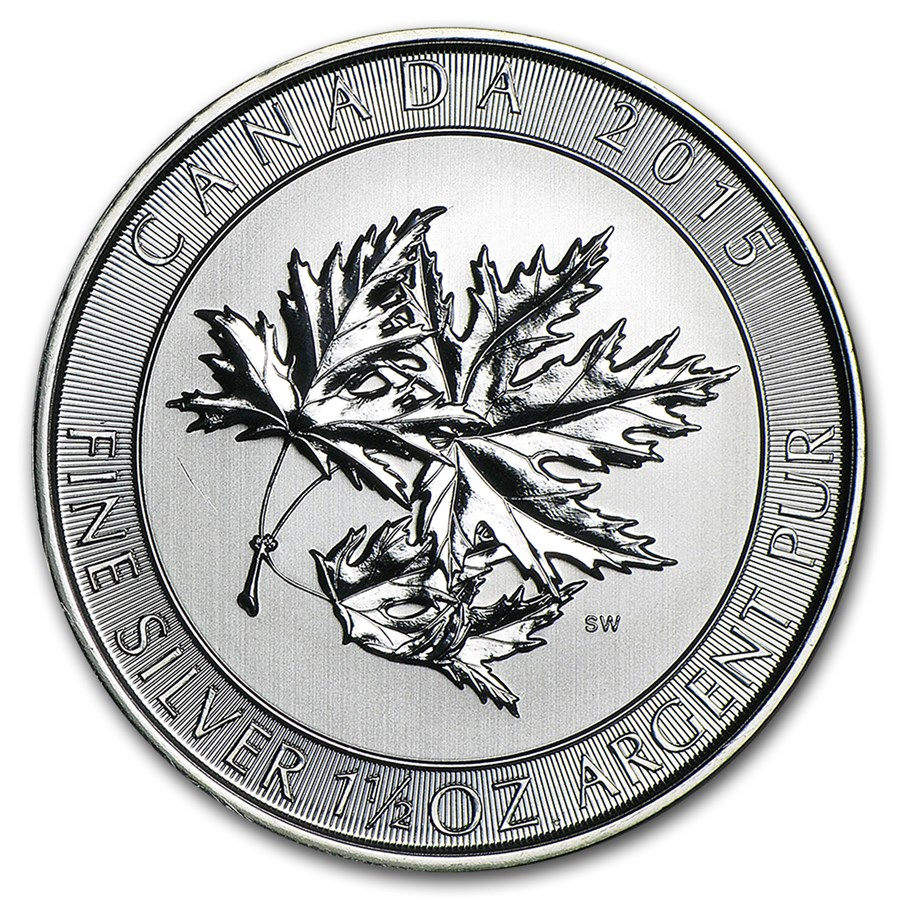 2015 Canada 1.5 oz Silver $8 SuperLeaf BU