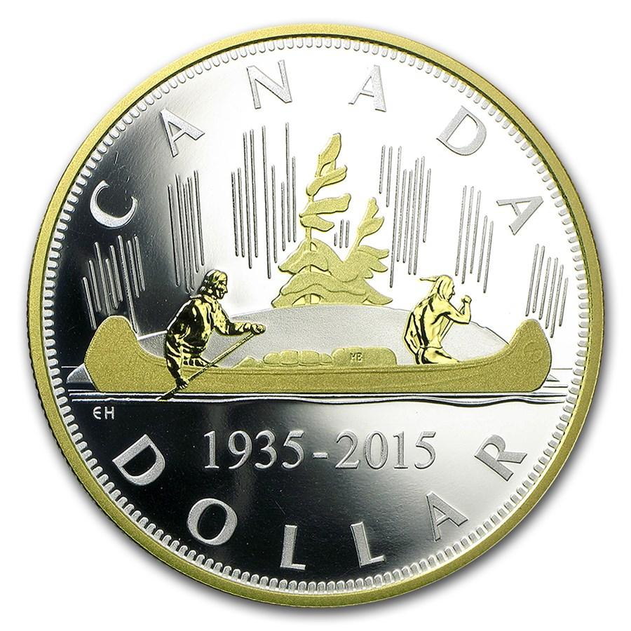 2015 Canada 2 oz Silver $1 Renewed Silver Dollar: Voyageur