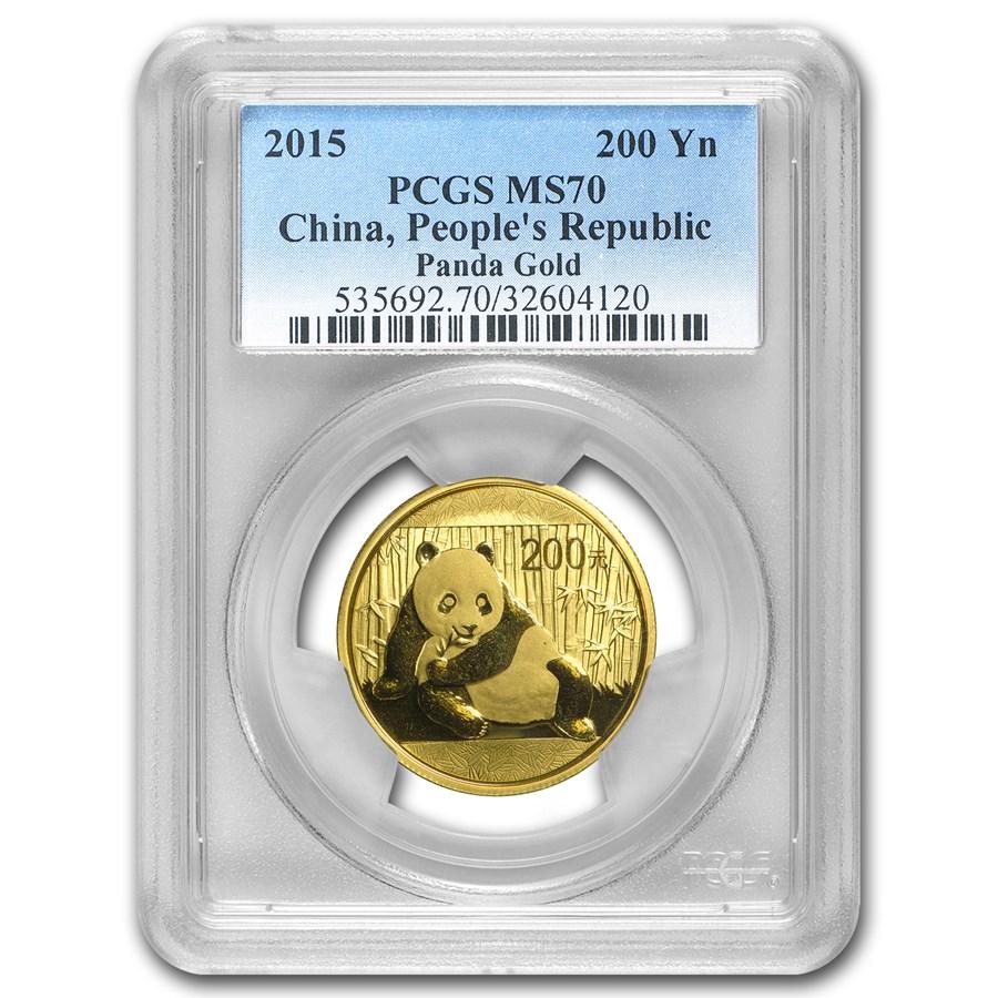 2015 China 1/2 oz Gold Panda MS-70 PCGS