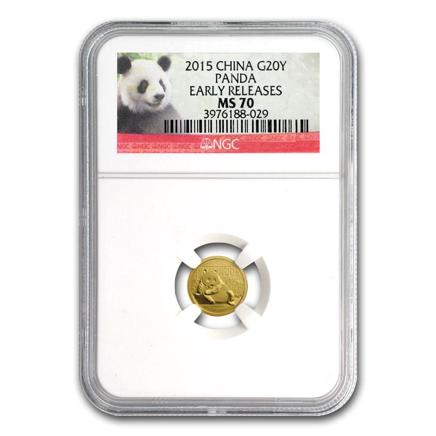 2015 China 1/20 oz Gold Panda MS-70 NGC (ER/FR)