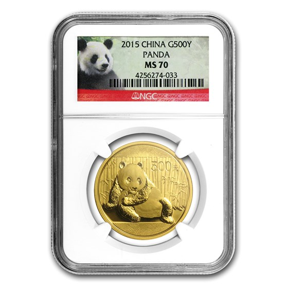 2015 China 1 oz Gold Panda MS-70 NGC