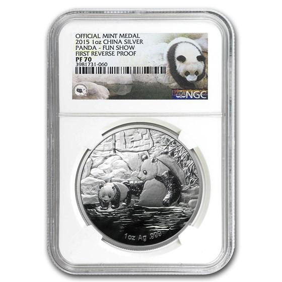 2015 China 1 oz Silver Panda 60th Anniv. FUN Show Medal PF-70 NGC