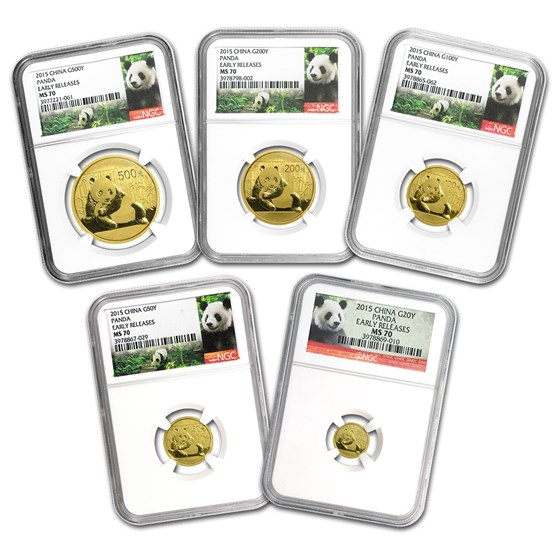 2015 China 5-Coin Gold Panda Set MS-70 NGC (Early Releases)