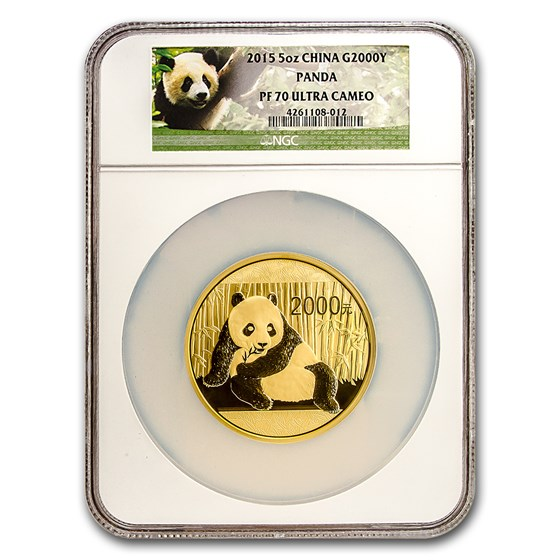 2015 China 5 oz Proof Gold Panda PF-70 NGC