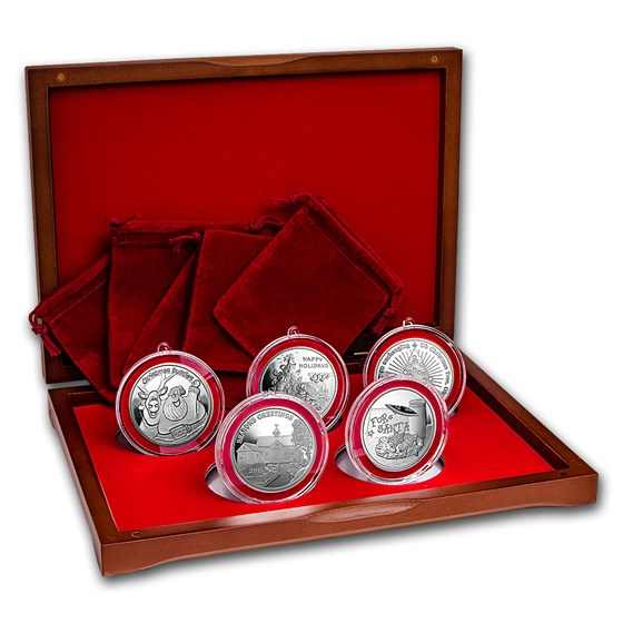 2015 Christmas 5-Coin Silver Round Ornament Set