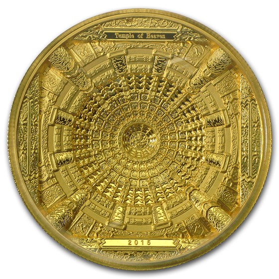 2015 Cook Islands 100 gram Gold Temple of Heaven 4-Layer Coin