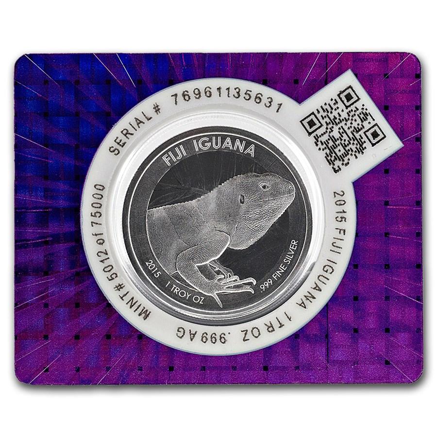 2015 Fiji Iguana Silver Coin in Certi-Lock® Assay