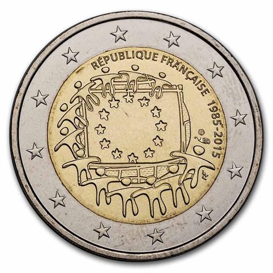2015 France 2 Euro EU Flag BU