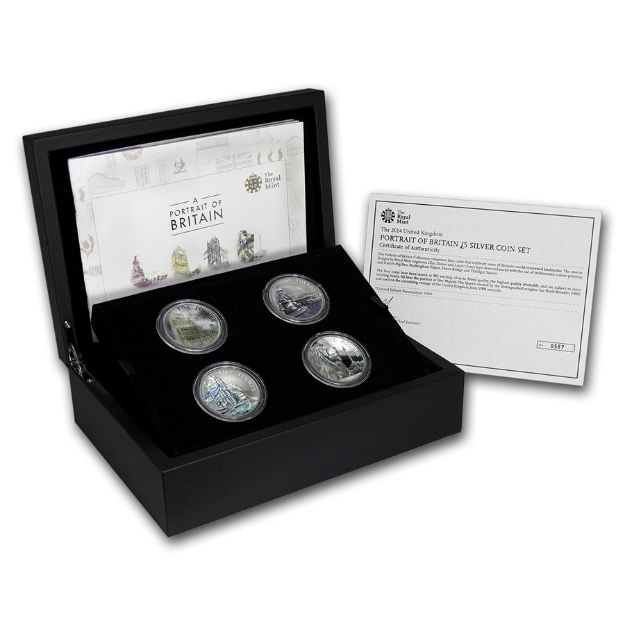 2015 GB 4-Coin Silver Portrait of Britain Set (Light Abrasions)