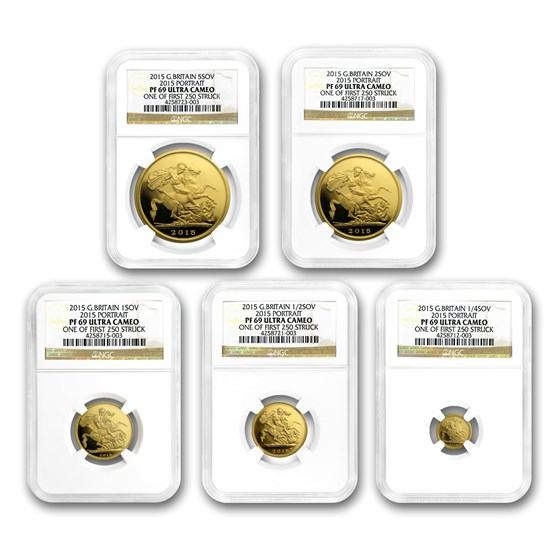 2015 GB 5-Coin Gold Sovereign Set PF-69 NGC