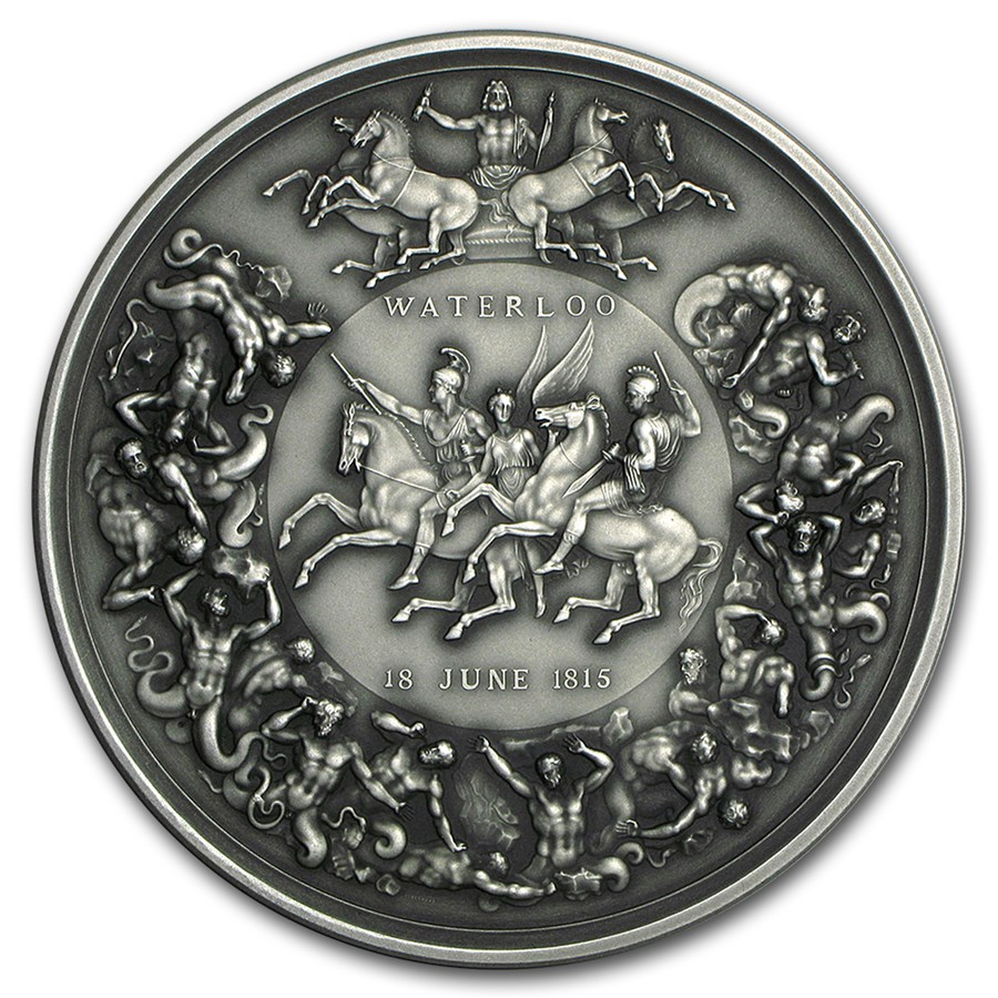 2015 Great Britain 8 oz Silver Battle of Waterloo Medal