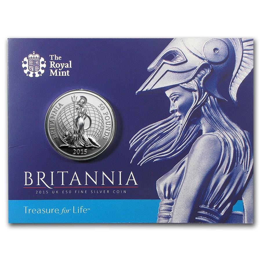 2015 Great Britain Silver £50 for £50 Britannia BU