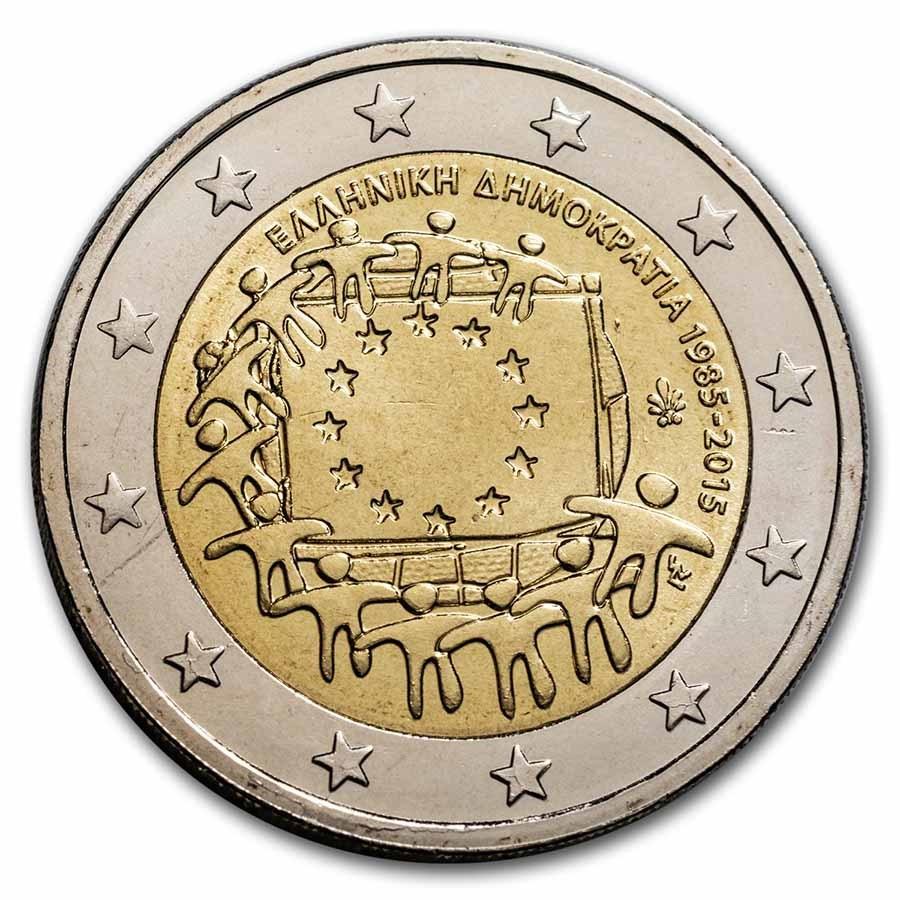 2015 Greece 2 Euro EU Flag BU