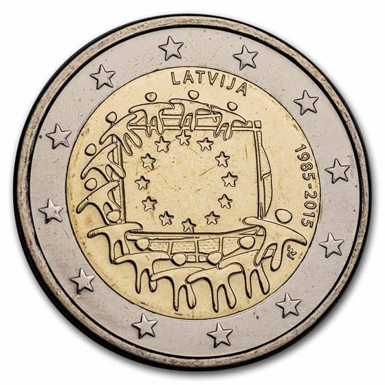 2015 Latvia 2 Euro EU Flag BU