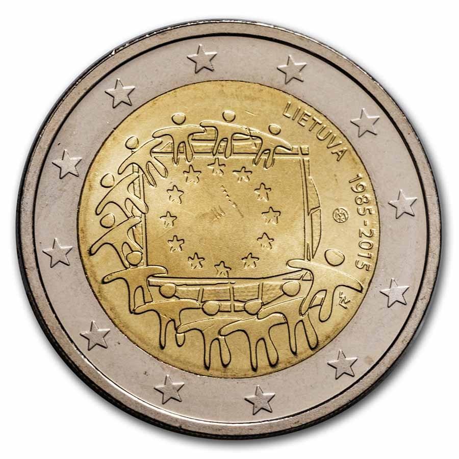 2015 Lithuania 2 Euro EU Flag BU
