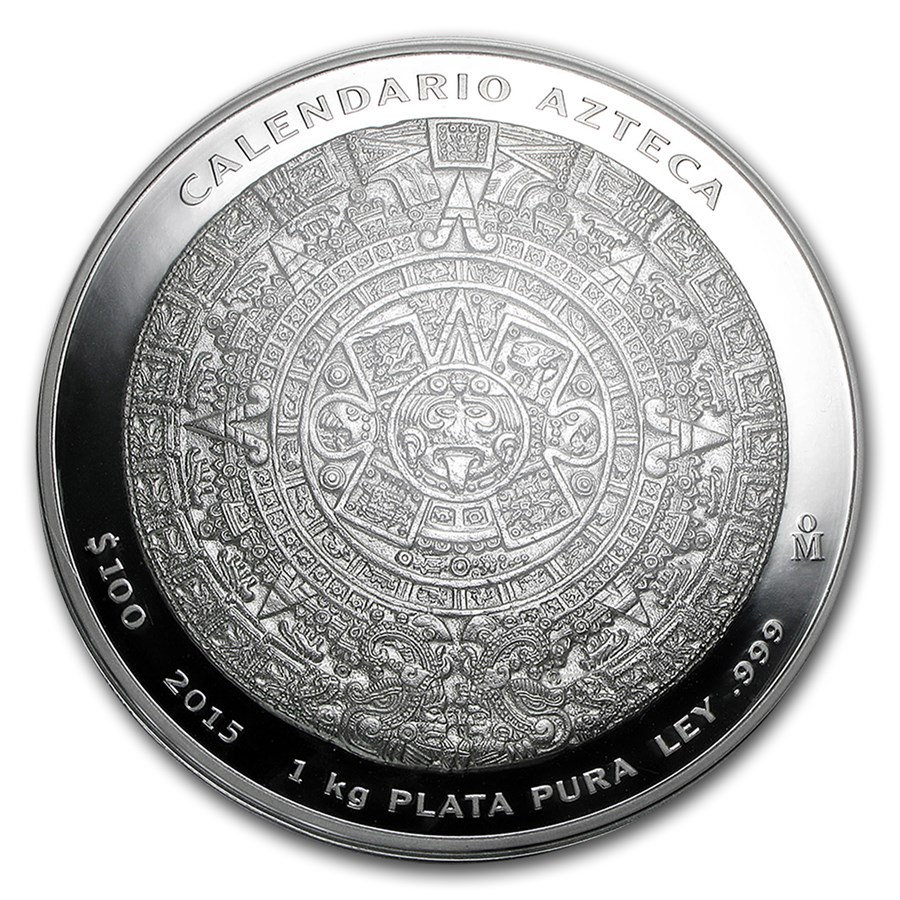 2015 Mexico 1 kilo Silver Aztec Calendar (w/Box & COA)