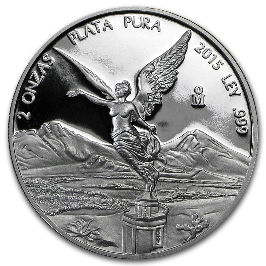 2015 Mexico 2 oz Silver Libertad Proof (In Capsule)