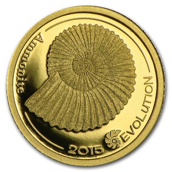 2015 Mongolia 1/2 gram Pf Gold 1000 Togrog Evolution (Ammonite)
