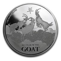 2015 New Zealand 1 oz Silver $2 Lunar Goat