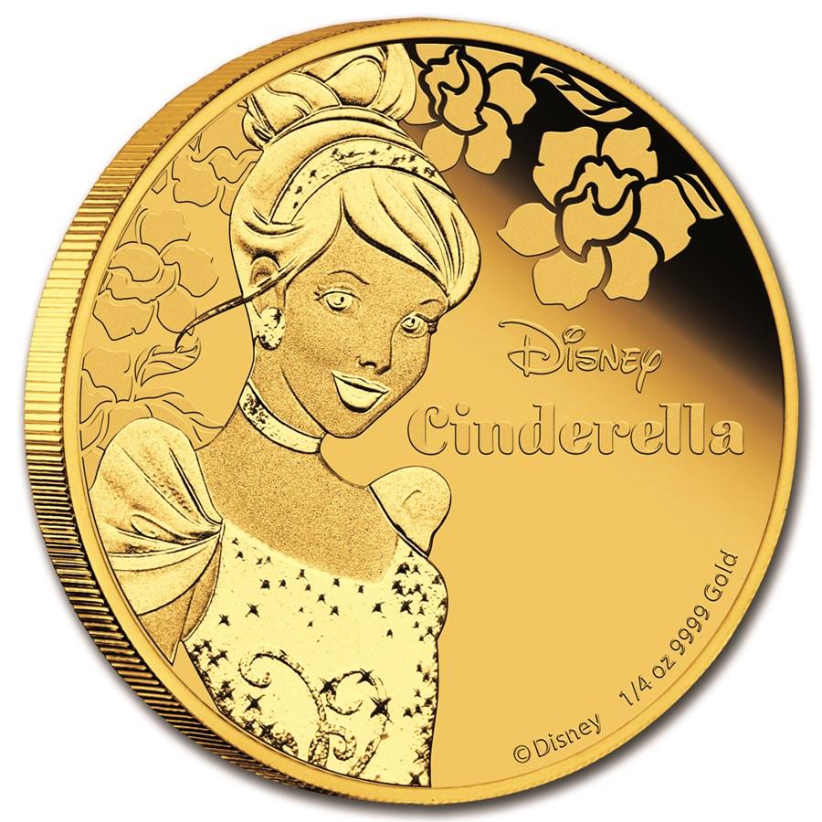 2015 Niue 1/4 oz Proof Gold $25 Disney Princess Cinderella