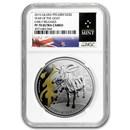 2015 Niue 1 oz Silver $2 Lunar Goat PF-70 NGC (Gilded)
