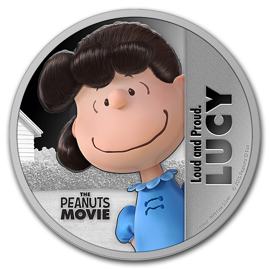 """2015 Niue 1 oz Silver """"The Peanuts Movie"""" Lucy"""
