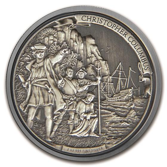 2015 Niue 2 oz Silver $5 Christopher Columbus HR (w/Box & COA)